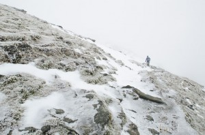 Ian Homer Photography. Ben Lomond - the so-called tourist track on the way down is just covered in ice and snow.