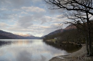 Ian Homer Photography. Loch Lomond from Rowardennan shoreline in Winter with the Arrochar Alps rising snow-capped in the background