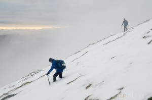 Ian Homer Photography. Some snow drifts are knee-deep on the descent of Ben Lomond