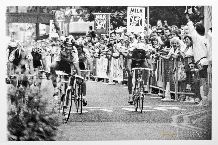Milk Race stage winner Ben Luckwell punches the air as he crosses the line, Stage 6, Leicester, 5th June, 1993.