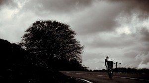 Cyclist climbing The Tumble on Tumble Up 4 Life Charity Cycling Event.